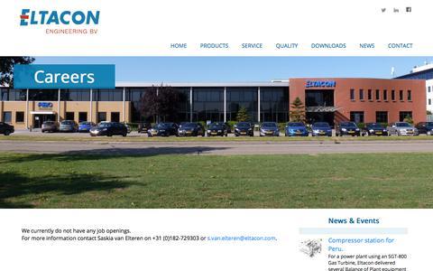 Screenshot of Jobs Page eltacon.com - Eltacon Engineering B.V. - captured July 31, 2017