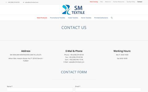 Screenshot of Contact Page smlimited.com - Contact – SM Textile - captured Nov. 22, 2019
