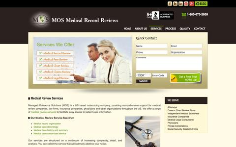 Screenshot of Services Page mosmedicalrecordreview.com - Medical Review Services | Medical Record Review | Peer Review - captured Oct. 4, 2014