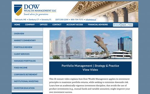 Screenshot of Home Page dow.us - Dow Wealth Management, financial services, investment portfolios, stocks and bonds - captured Oct. 9, 2018