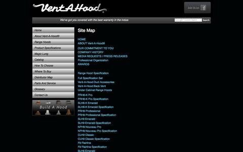 Screenshot of Site Map Page ventahood.com - Kitchen Ventilation, Range Vent Hoods - Site Map :: Vent-A-Hood® - captured Sept. 25, 2014
