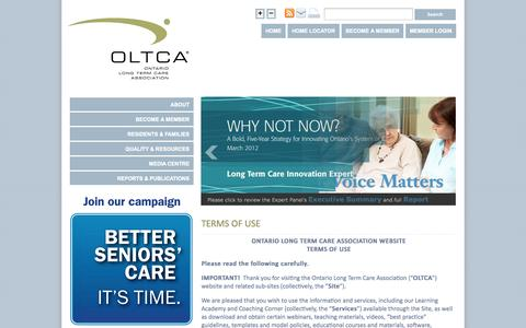 Screenshot of Terms Page oltca.com - Terms of Use   Ontario Long Term Care Association - captured Oct. 7, 2014