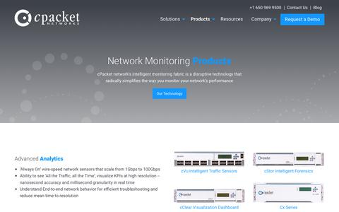 Screenshot of Products Page cpacket.com - Products - cPacket Networks - captured Sept. 30, 2018
