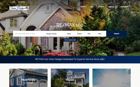 Screenshot of Home Page sharihodges.com - RE/MAX 100. Shari Hodges Dedicated To Superior Service Since 1987. - captured Oct. 23, 2017
