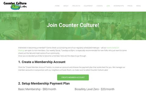 Screenshot of Signup Page counterculturelabs.org - Join - Counter Culture Labs - captured July 22, 2018