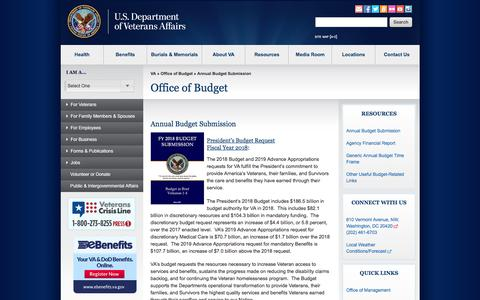 Screenshot of Products Page va.gov - Annual Budget Submission - Office of Budget - captured June 20, 2017