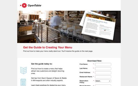Screenshot of Landing Page opentable.com - Get the Guide to Creating Your Menu - captured March 4, 2018