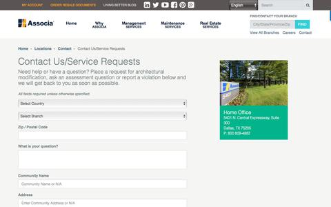 Screenshot of Support Page associaonline.com - Make a Customer Service Request | Associa - captured July 23, 2017