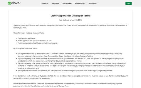 Developer Agreement | Clover | www.clover.com