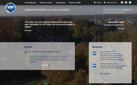 Screenshot of Home Page simgroep.nl - SIMgroep | Digitale frontoffice voor de e-overheid -  / internet - captured Dec. 15, 2015
