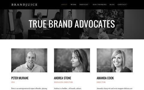 Screenshot of About Page brandjuice.com - About BrandJuice | Exprienced Strategists & Brand Creators - captured Jan. 7, 2016