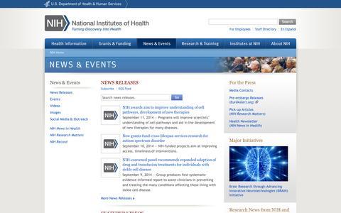 Screenshot of Press Page nih.gov - News & Events - National Institutes of Health (NIH) - captured Sept. 16, 2014