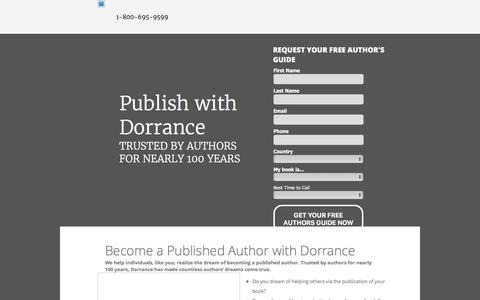 Screenshot of Landing Page dorrancepublishing.com - Publish with Dorrance - captured May 20, 2016