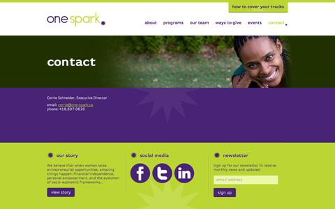 Screenshot of Contact Page one-spark.ca - Contact | One Spark - captured Sept. 26, 2014