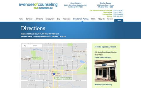 Screenshot of Maps & Directions Page avenuesofcounseling.com - Directions | Counseling Medina and Fairlawn, Ohio - captured Oct. 9, 2017