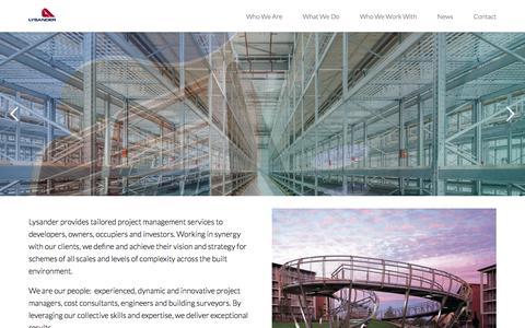 Screenshot of Home Page lysanderassociates.com - Lysander | Construction & Development Project Management Services - captured Sept. 20, 2017
