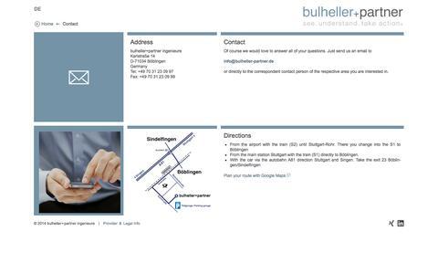 Screenshot of Contact Page bulheller-partner.de - Contact – bulheller+partner – see. understand. take action. - captured Oct. 5, 2014
