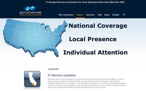 Screenshot of Locations Page xonicwave.com - IT Service Locations | Xonicwave is Available Nationwide - captured Jan. 12, 2016