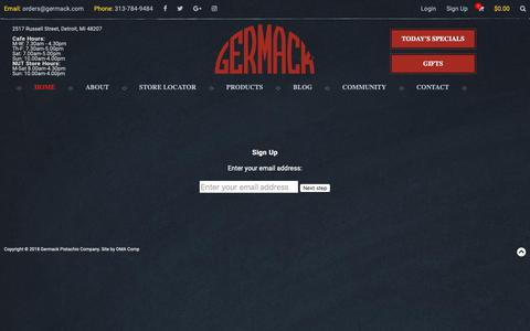 Screenshot of Signup Page germack.com - Germack Pistachio - captured Sept. 28, 2018