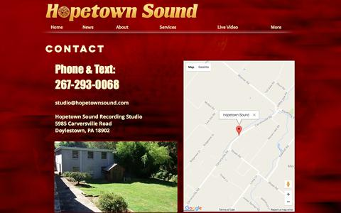 Screenshot of Contact Page hopetownsound.com - Contact | Recording Studio | Hopetown Sound - captured May 22, 2017