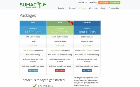 Screenshot of Pricing Page sumac.com - Price (Purchase) - Sumac Non-profit Software - captured Sept. 18, 2019
