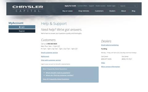 Screenshot of Support Page chryslercapital.com - Help and Support   Chrysler Capital - captured Sept. 25, 2014
