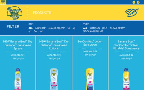 Screenshot of Products Page bananaboat.com - Suncare Product Finder | Banana Boat - captured June 22, 2017