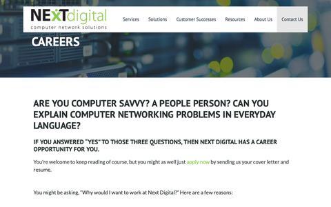 Screenshot of Jobs Page nextdigital.ca - Career Opportunities – Next Digital - captured Oct. 20, 2018