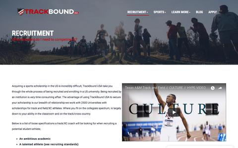 Screenshot of Trial Page trackboundusa.co.uk - Attend a Trial | Trackbound USA | Soccer Scholarships USA | American College Soccer Scholarships - captured Sept. 21, 2018