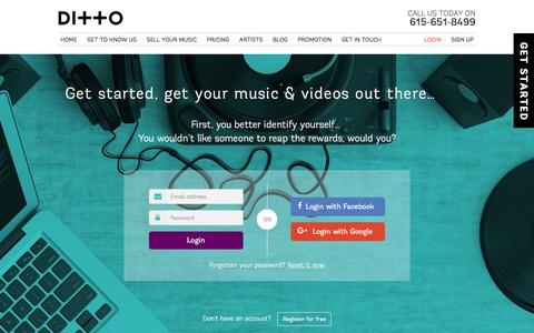 Screenshot of Login Page dittomusic.com - Login to your Ditto Music account | Sign in - captured Aug. 2, 2016