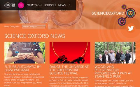 Screenshot of Press Page scienceoxford.com - Science Oxford News - Science Oxford - captured May 28, 2017