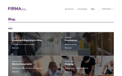 Screenshot of Blog firmafx.com - Firma Foreign Exchange United States - captured Sept. 29, 2016