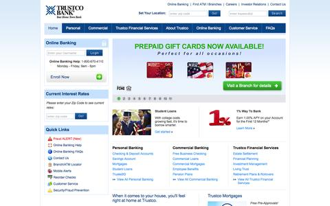 Screenshot of Home Page trustcobank.com - Personal & Commercial Banking - Home Loans & Mortgages - Financial Planning | Trustco Bank - captured Sept. 19, 2014