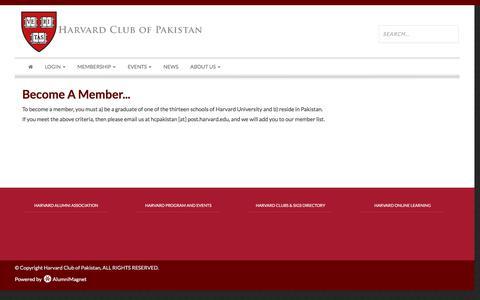 Screenshot of Signup Page harvard.edu - Harvard Club of Pakistan - captured Jan. 31, 2017