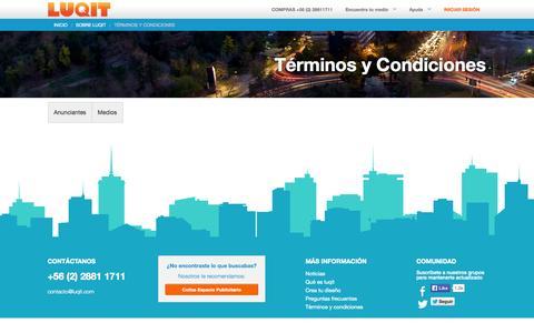 Screenshot of Terms Page luqit.com - Términos y Condiciones   Luqit.com - captured Sept. 13, 2014