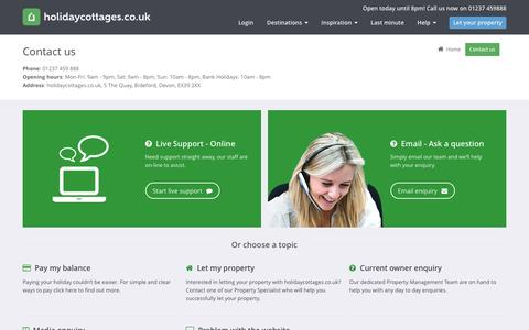 Screenshot of Contact Page holidaycottages.co.uk - Contact us - holidaycottages.co.uk - captured Sept. 10, 2016