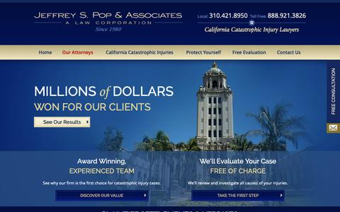 Screenshot of Home Page poplawyer.com - California Serious Injury Attorney | Jeffrey S. Pop & Associates - captured Oct. 2, 2018