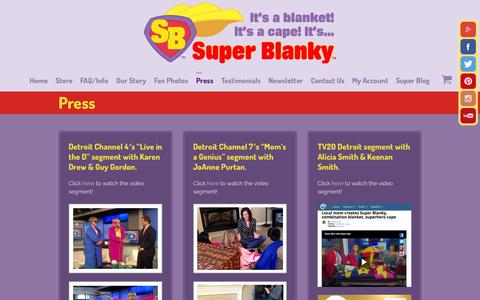 Screenshot of Press Page superblanky.com - Press - Super Blanky - captured Oct. 26, 2014