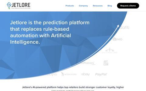 Screenshot of Home Page jetlore.com - Jetlore - Go Beyond PersonalizationTM - captured May 9, 2017