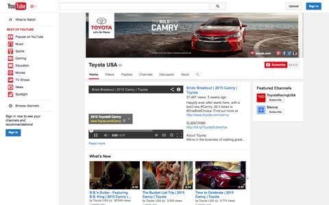 Screenshot of YouTube Page youtube.com - Toyota USA  - YouTube - captured Oct. 29, 2014