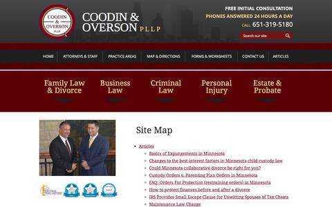 Screenshot of Site Map Page coodinoverson.com - Site Map | Coodin & Overson, PLLP | Woodbury & Lake Elmo Minnesota - captured Nov. 12, 2016