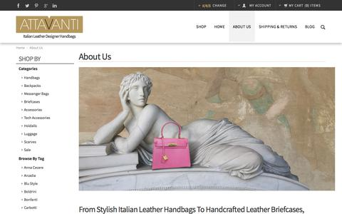 Screenshot of About Page attavanti.com - Our Italian Leather Designer Brands | Attavanti - captured Oct. 9, 2017