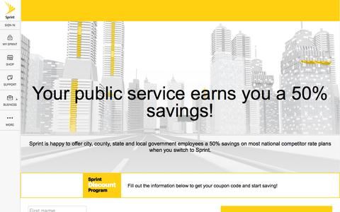 Screenshot of Landing Page sprint.com - Sprint offers city, county, state and local government employees a discount on select regularly-priced Sprint monthly data service. - captured Aug. 30, 2016