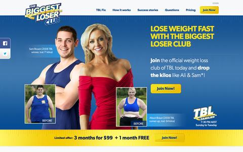 Screenshot of Home Page biggestloserclub.com.au - The Biggest Loser Club: Official Weight Loss Club of the TV show - captured Jan. 31, 2016