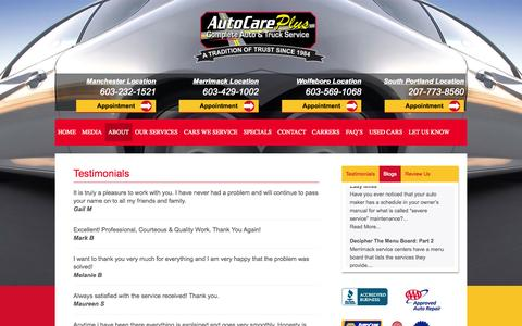 Screenshot of Testimonials Page autocareplus.com - Testimonials - Auto Care Plus - captured Oct. 29, 2014