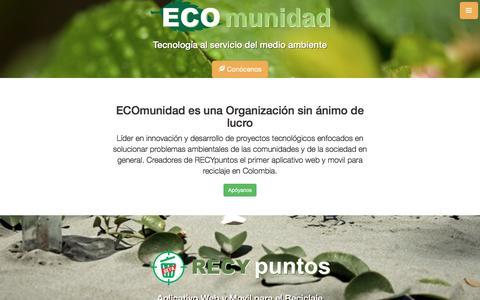 Screenshot of Home Page ecomunidad.co - ECOmunidad | Tecnología al servicio del medio ambiente - captured May 14, 2017