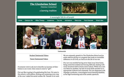 Screenshot of Testimonials Page theglenholmeschool.org - Testimonials | The Glenholme School - captured Jan. 11, 2016