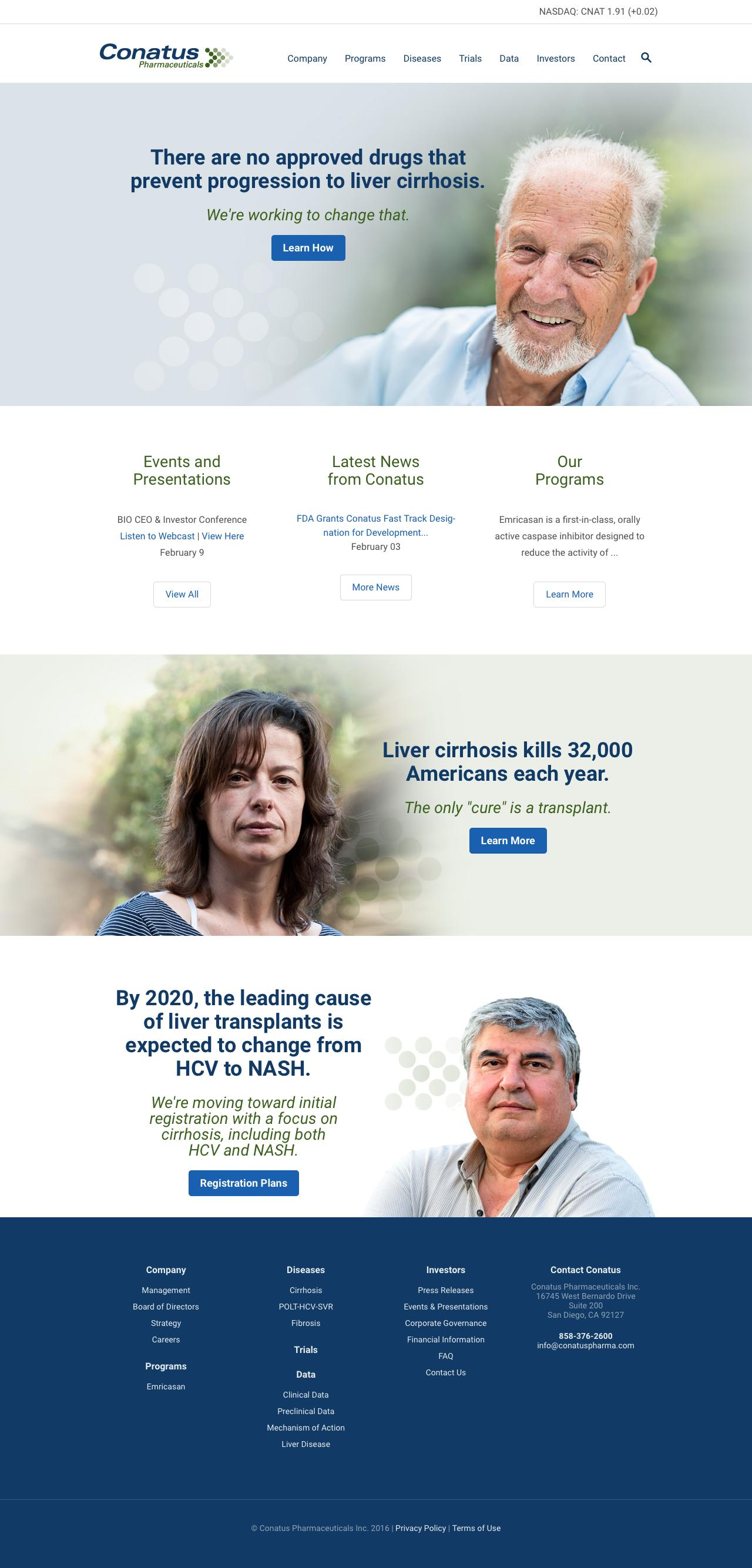 Screenshot of conatuspharma.com - Conatus Pharmaceuticals                  Âť Conatus Pharmaceuticals, Inc. - captured Feb. 21, 2016