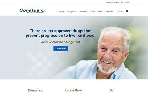 Screenshot of Home Page conatuspharma.com - Conatus Pharmaceuticals                  Âť Conatus Pharmaceuticals, Inc. - captured Feb. 21, 2016