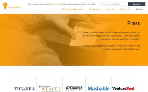 Screenshot of Press Page moneythink.org - Press | Moneythink : Moneythink - captured June 16, 2015